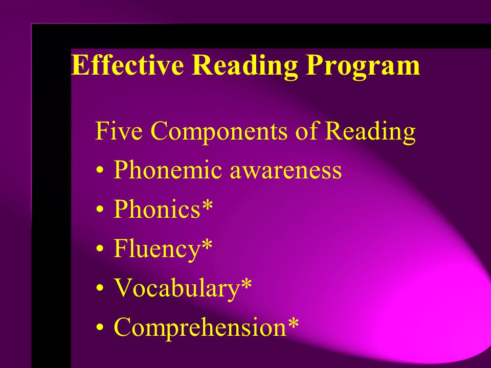 Effective Reading Program Five Components of Reading Phonemic awareness Phonics* Fluency* Vocabulary* Comprehension*