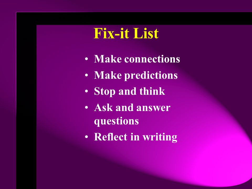 Fix-it List Make connections Make predictions Stop and think Ask and answer questions Reflect in writing