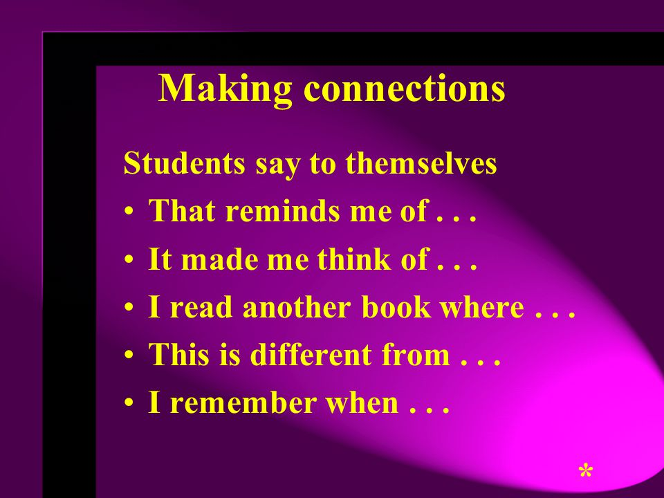 Students say to themselves That reminds me of...It made me think of...