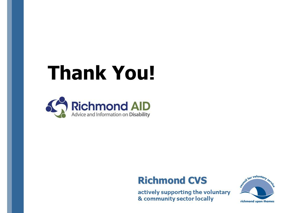 Thank You! Richmond CVS actively supporting the voluntary & community sector locally