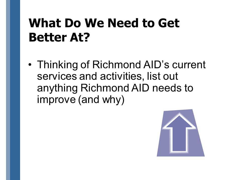 What Do We Need to Get Better At? Thinking of Richmond AID's current services and activities, list out anything Richmond AID needs to improve (and why