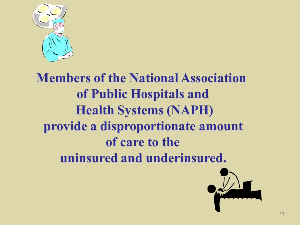 Members of the National Association of Public Hospitals and Health Systems (NAPH) provide a disproportionate amount of care to the uninsured and under