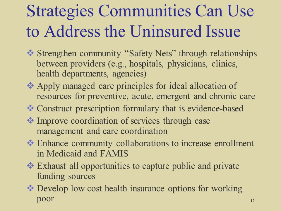 """Strategies Communities Can Use to Address the Uninsured Issue  Strengthen community """"Safety Nets"""" through relationships between providers (e.g., hosp"""