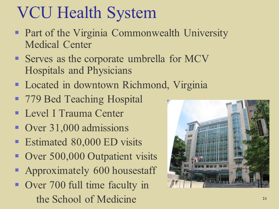 VCU Health System §Part of the Virginia Commonwealth University Medical Center §Serves as the corporate umbrella for MCV Hospitals and Physicians §Loc