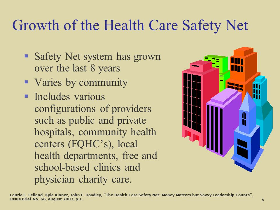 Growth of the Health Care Safety Net §Safety Net system has grown over the last 8 years §Varies by community §Includes various configurations of provi