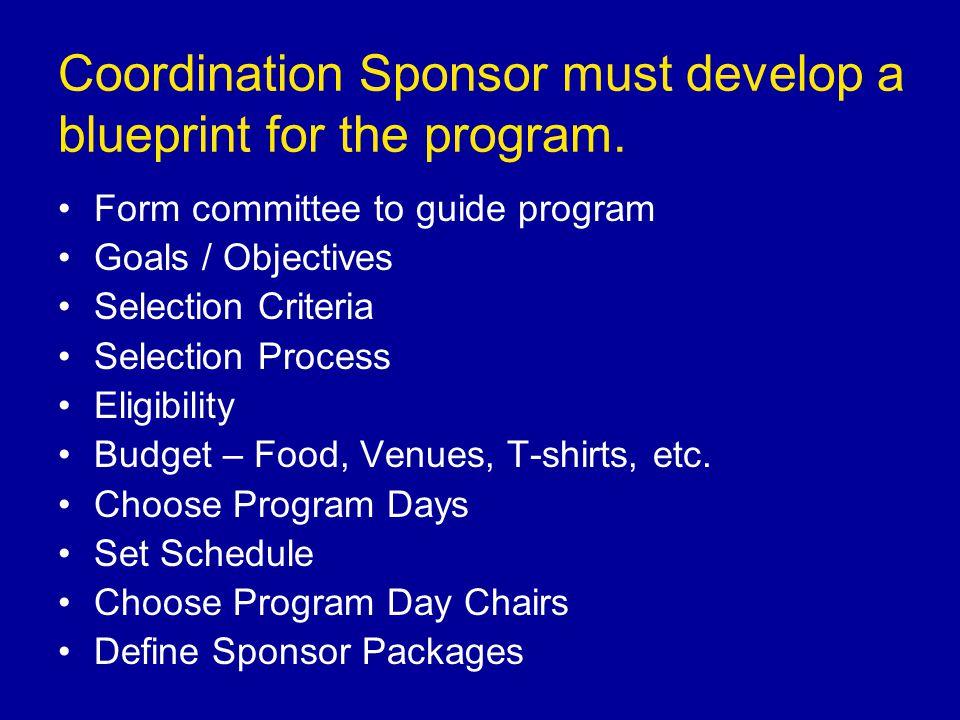 Coordination Sponsor must develop a blueprint for the program.
