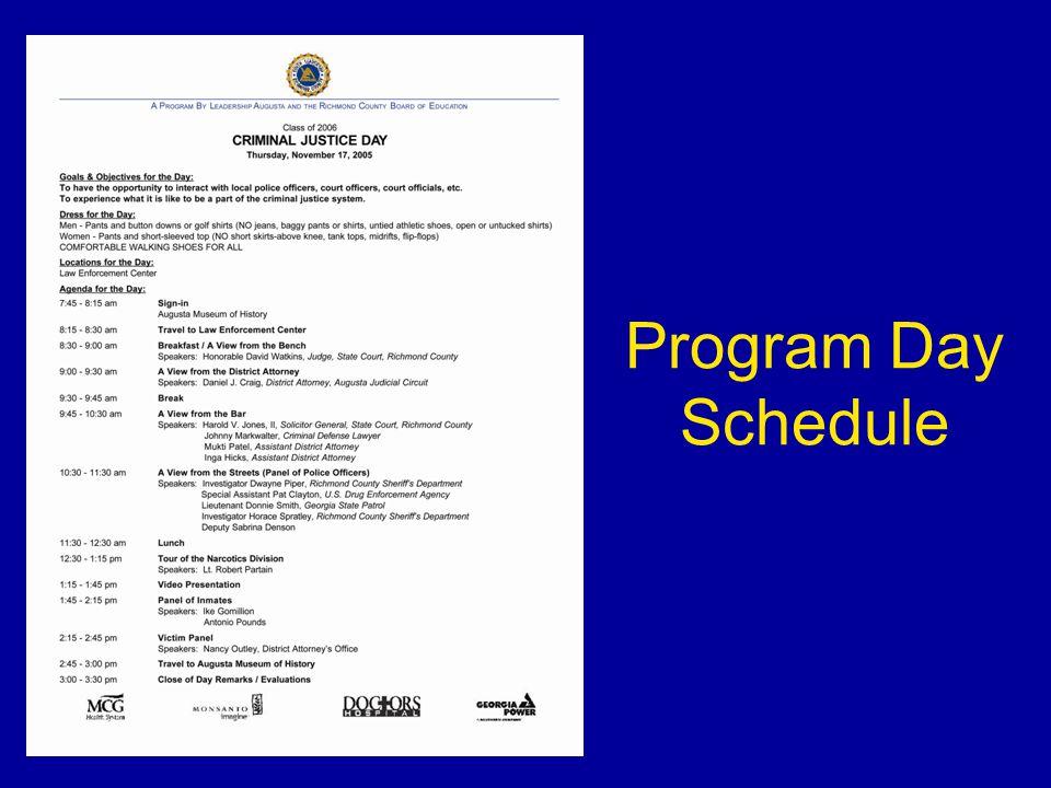Program Day Schedule
