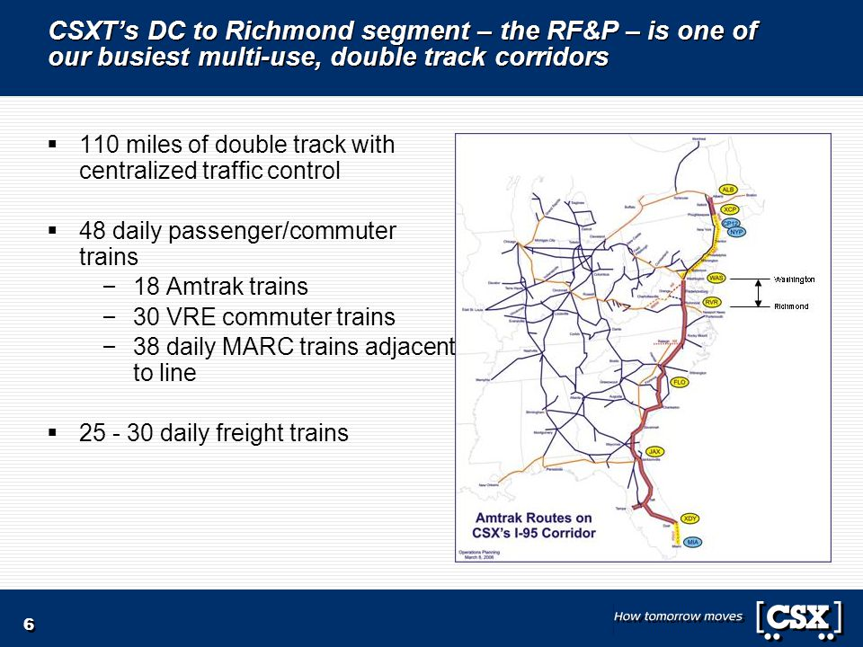 6 CSXT's DC to Richmond segment – the RF&P – is one of our busiest multi-use, double track corridors  110 miles of double track with centralized traffic control  48 daily passenger/commuter trains – 18 Amtrak trains – 30 VRE commuter trains – 38 daily MARC trains adjacent to line  25 - 30 daily freight trains