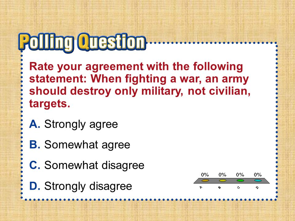 A.A B.B C.C D.D Section 5-Polling QuestionSection 5-Polling Question Rate your agreement with the following statement: When fighting a war, an army sh