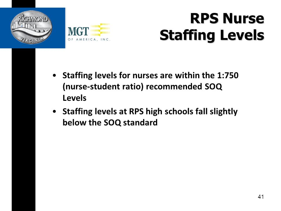 RPS Nurse Staffing Levels Staffing levels for nurses are within the 1:750 (nurse-student ratio) recommended SOQ Levels Staffing levels at RPS high schools fall slightly below the SOQ standard 41