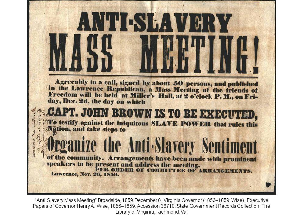 Anti-Slavery Mass Meeting Broadside, 1859 December 8.