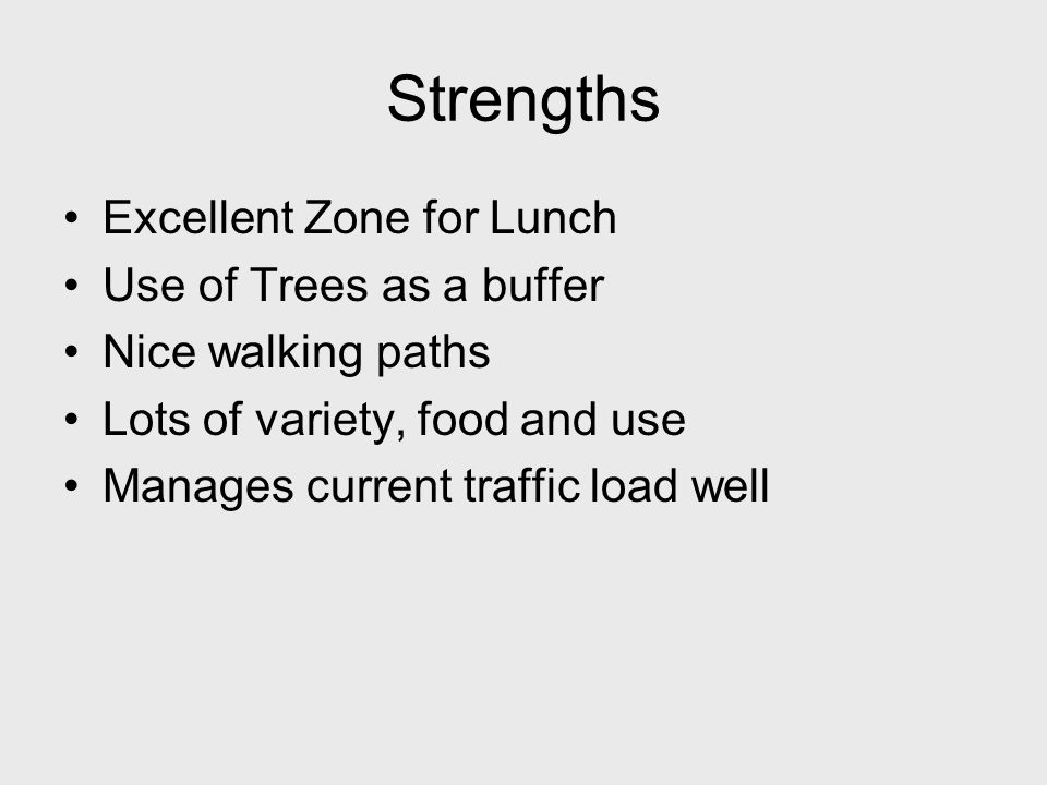 Strengths Excellent Zone for Lunch Use of Trees as a buffer Nice walking paths Lots of variety, food and use Manages current traffic load well