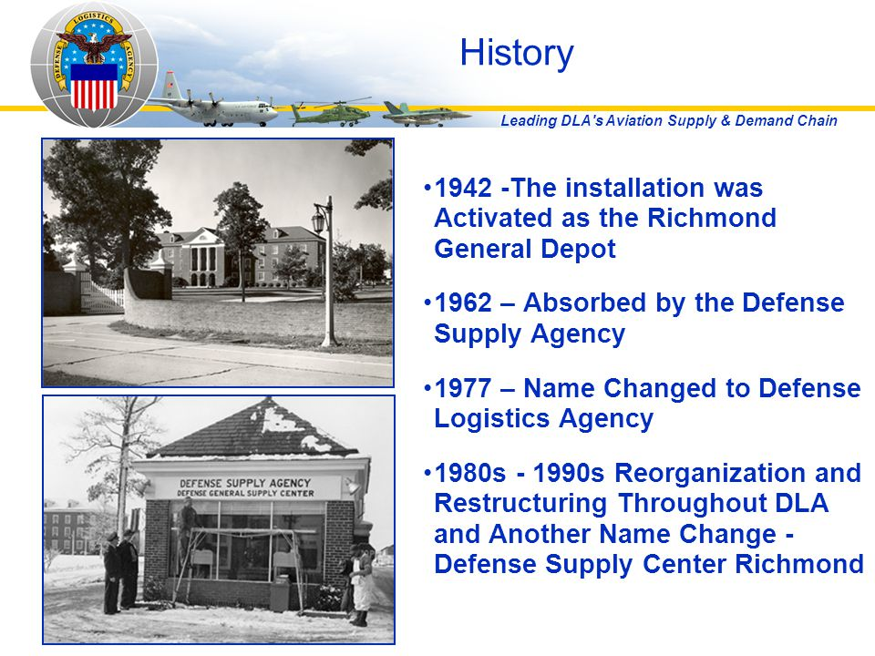 Leading DLA's Aviation Supply & Demand Chain History 1942 -The installation was Activated as the Richmond General Depot 1962 – Absorbed by the Defense