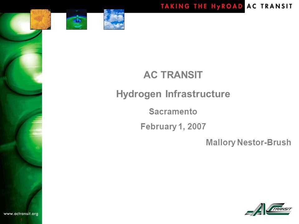 1 AC TRANSIT Hydrogen Infrastructure Sacramento February 1, 2007 Mallory Nestor-Brush