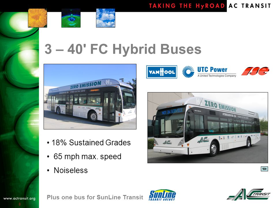 8 3 – 40 FC Hybrid Buses 18% Sustained Grades 65 mph max.