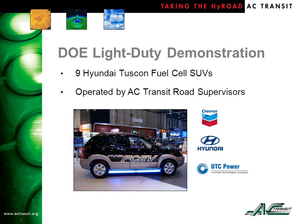 9 DOE Light-Duty Demonstration 9 Hyundai Tuscon Fuel Cell SUVs Operated by AC Transit Road Supervisors