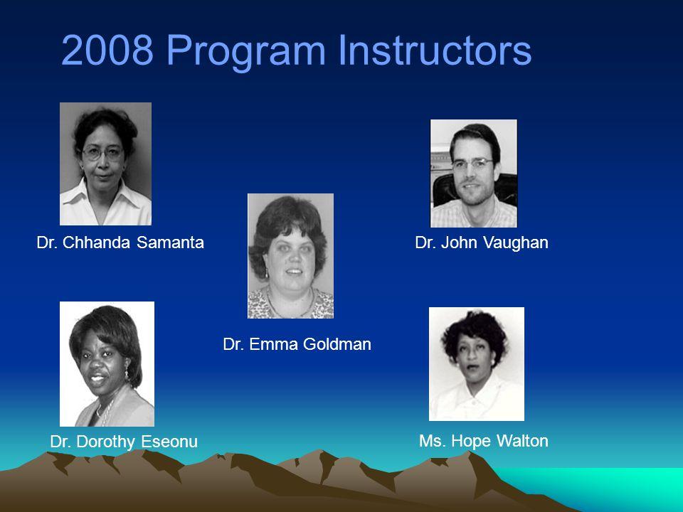 2008 Program Instructors Dr. Chhanda Samanta Dr. Dorothy Eseonu Dr.
