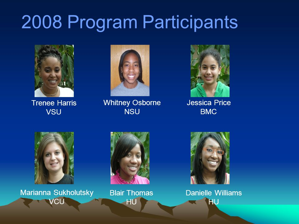 2008 Program Participants Trenee Harris VSU Whitney Osborne NSU Jessica Price BMC Marianna Sukholutsky VCU Blair Thomas HU Danielle Williams HU