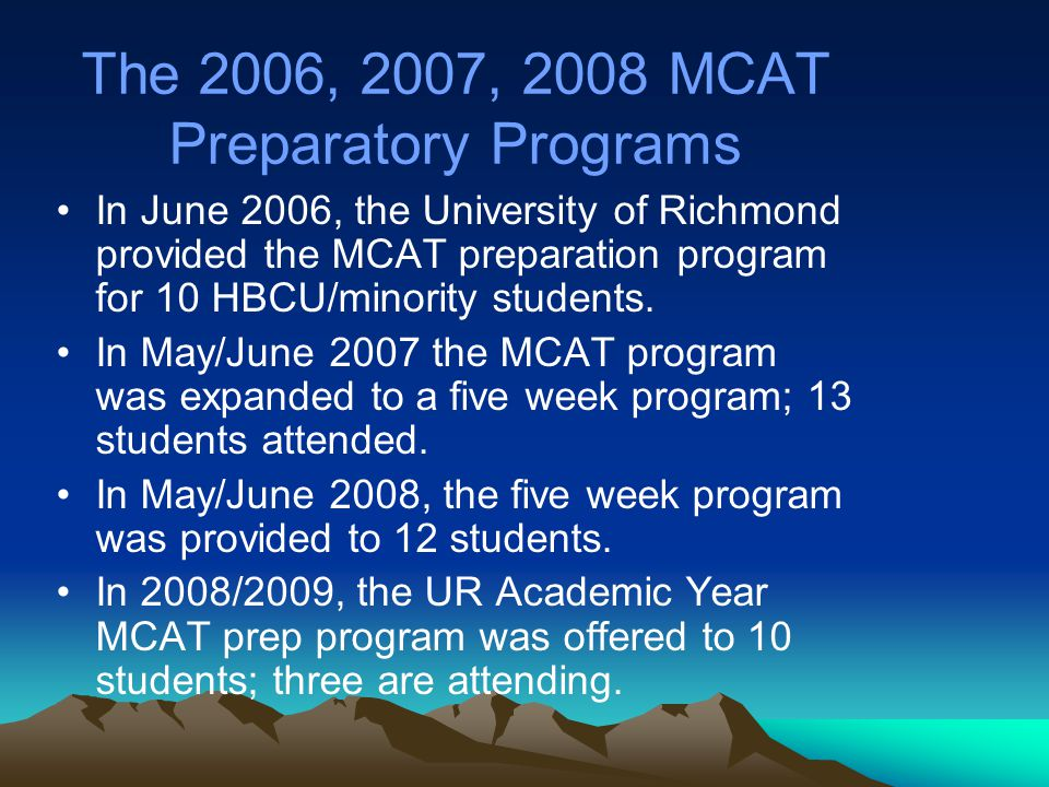 2009 Summer MCAT Program The University of Richmond is prepared to offer the MCAT prep program again in the summer of 2009.