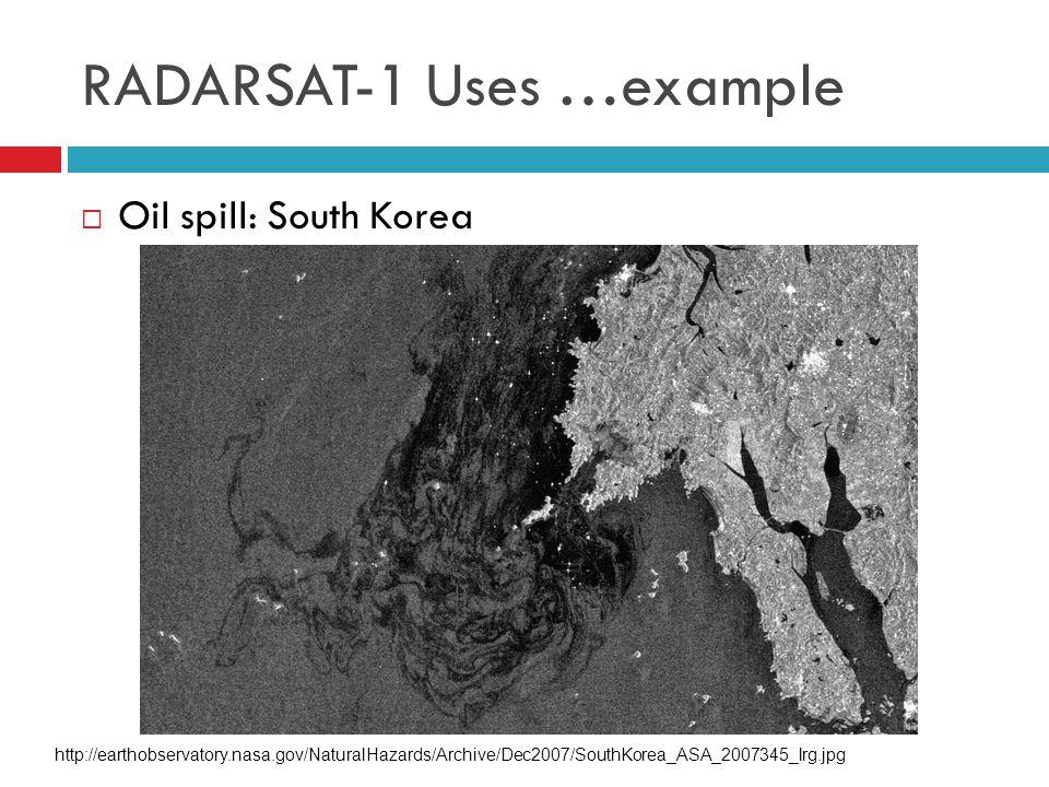  Oil spill: South Korea RADARSAT-1 Uses …example http://earthobservatory.nasa.gov/NaturalHazards/Archive/Dec2007/SouthKorea_ASA_2007345_lrg.jpg