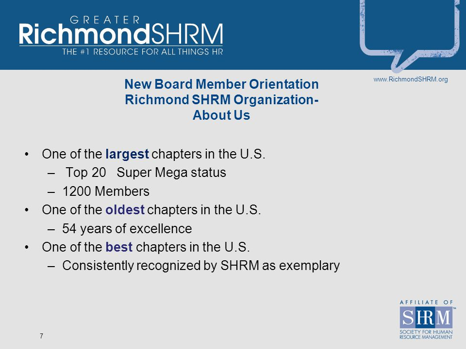 www.RichmondSHRM.org 8 Richmond SHRM's Mission Engage our members Advance the profession Lead in the community The #1 Resource for all things HR
