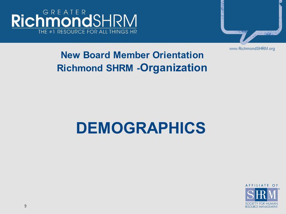 www.RichmondSHRM.org 9 New Board Member Orientation Richmond SHRM - Organization DEMOGRAPHICS