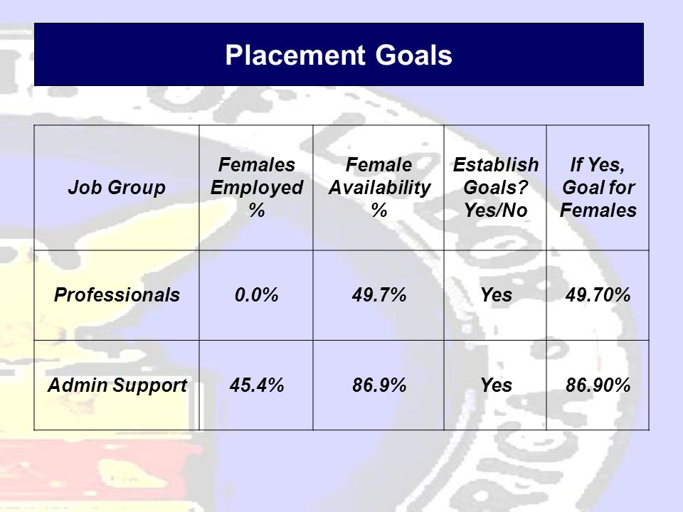 Placement Goals Job Group Females Employed % Female Availability % Establish Goals.