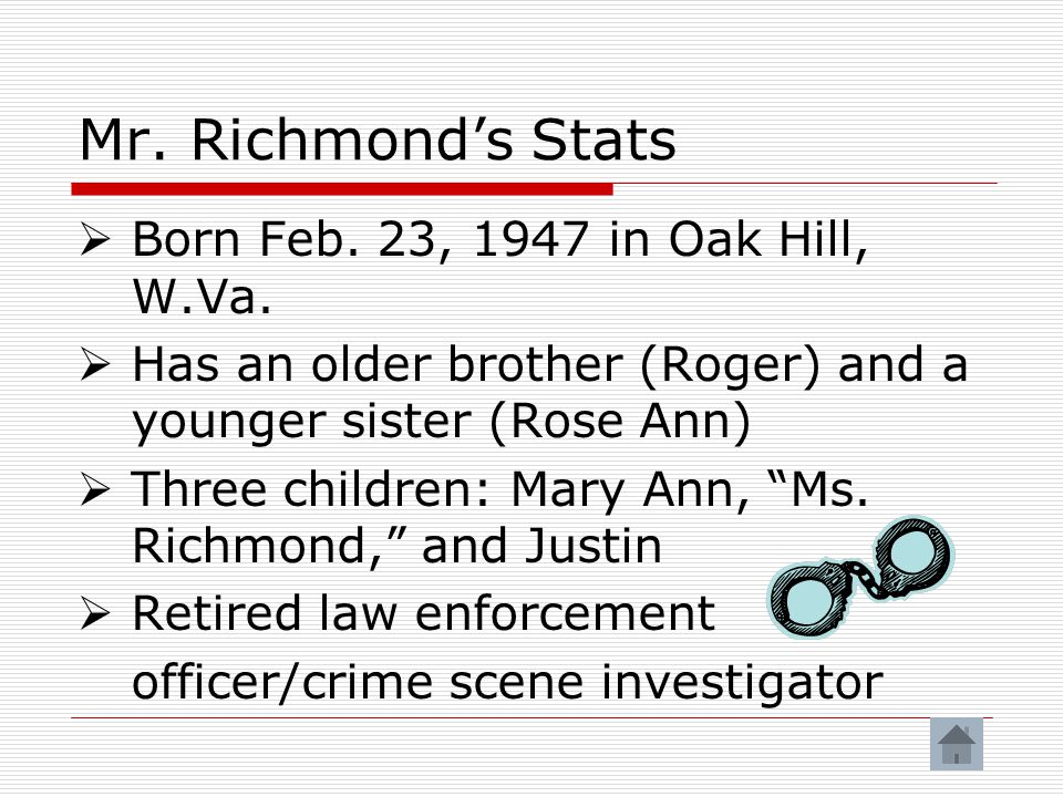 Mr.Richmond's Stats  Born Feb. 23, 1947 in Oak Hill, W.Va.
