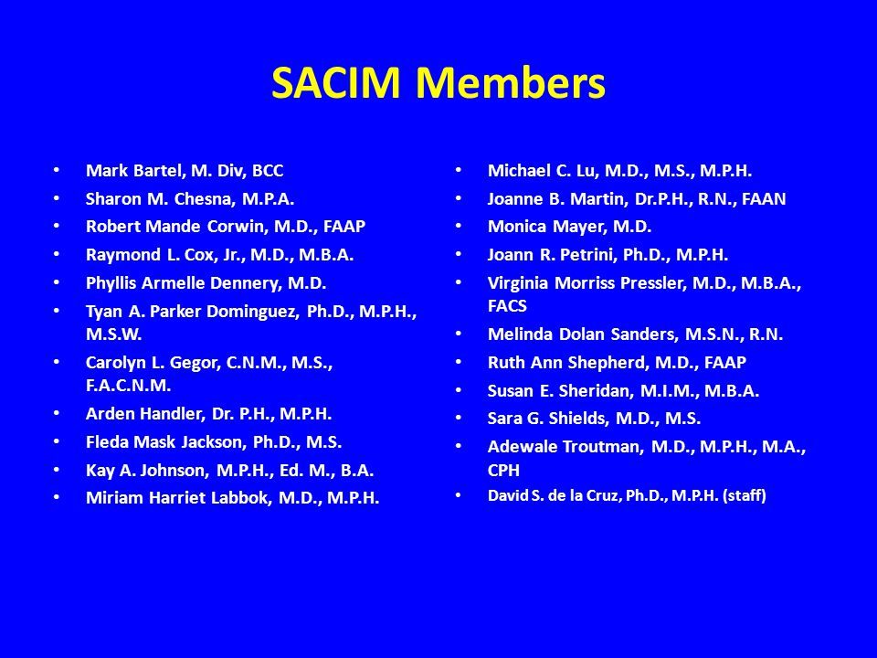 SACIM Members Mark Bartel, M. Div, BCC Sharon M. Chesna, M.P.A.