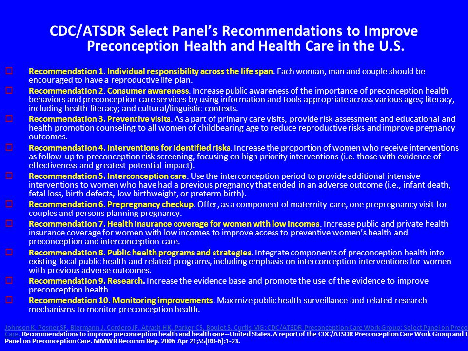 CDC/ATSDR Select Panel's Recommendations to Improve Preconception Health and Health Care in the U.S.