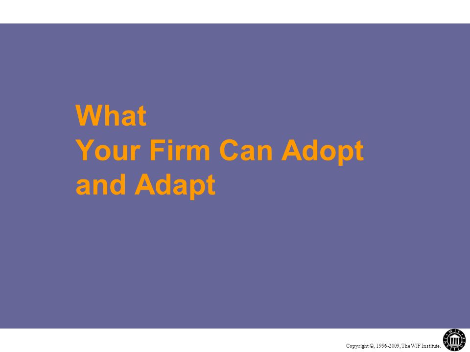 Copyright ©, 1996-2009, The WJF Institute. What Your Firm Can Adopt and Adapt