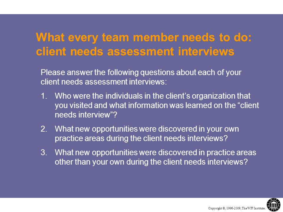 Copyright ©, 1996-2009, The WJF Institute. What every team member needs to do: client needs assessment interviews Please answer the following question