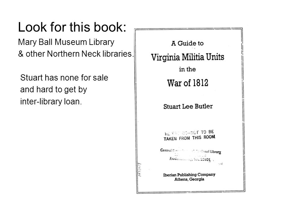 Look for this book: Mary Ball Museum Library & other Northern Neck libraries.