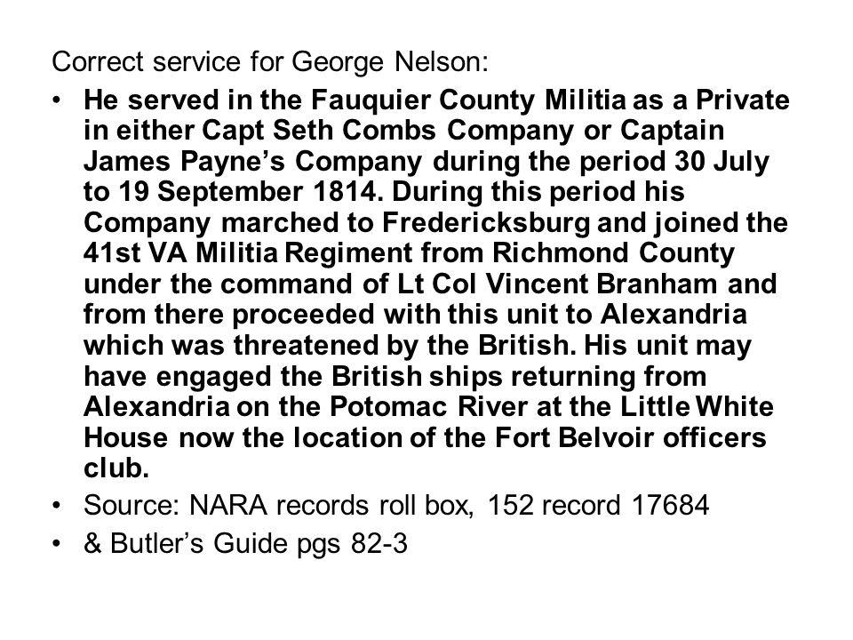 NARA index card files: NELSON, GEORGE Company: 41 REG T (BRAMHAM S) VIRGINIA MILITIA.