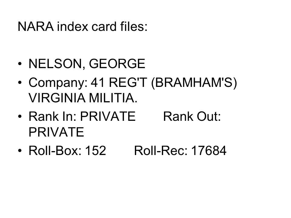 NARA index card files: NELSON, GEORGE Company: 41 REG'T (BRAMHAM'S) VIRGINIA MILITIA. Rank In: PRIVATERank Out: PRIVATE Roll-Box: 152Roll-Rec: 17684