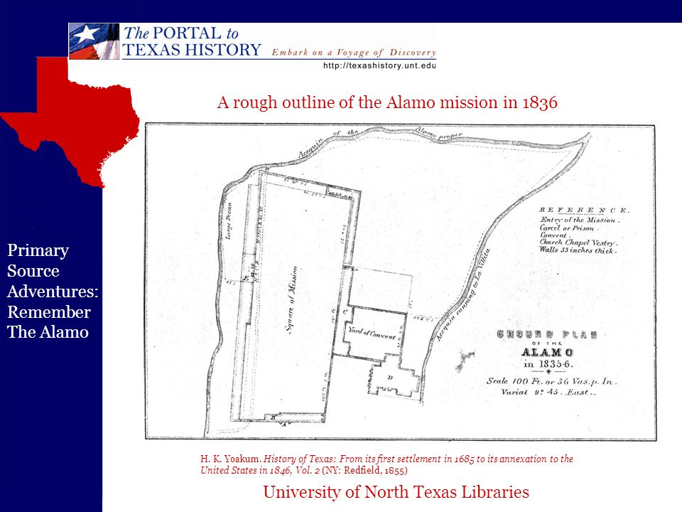 University of North Texas Libraries Primary Source Adventures: Remember The Alamo H. K. Yoakum. History of Texas: From its first settlement in 1685 to
