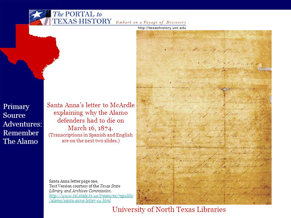 University of North Texas Libraries Primary Source Adventures: Remember The Alamo Santa Anna letter page one, Text Version courtesy of the Texas State