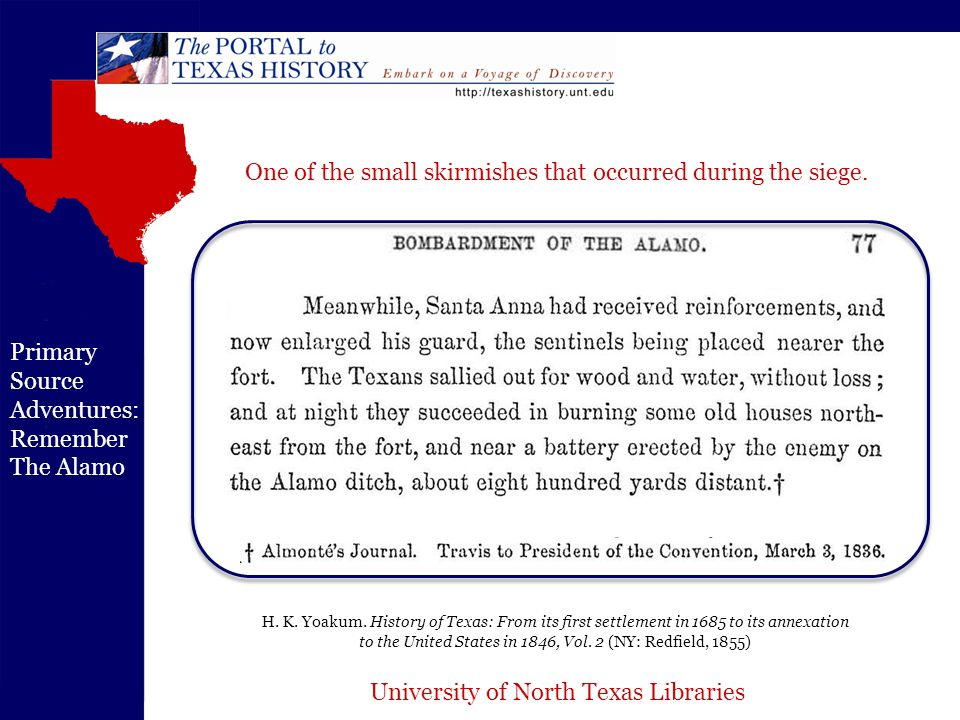 University of North Texas Libraries Primary Source Adventures: Remember The Alamo H.