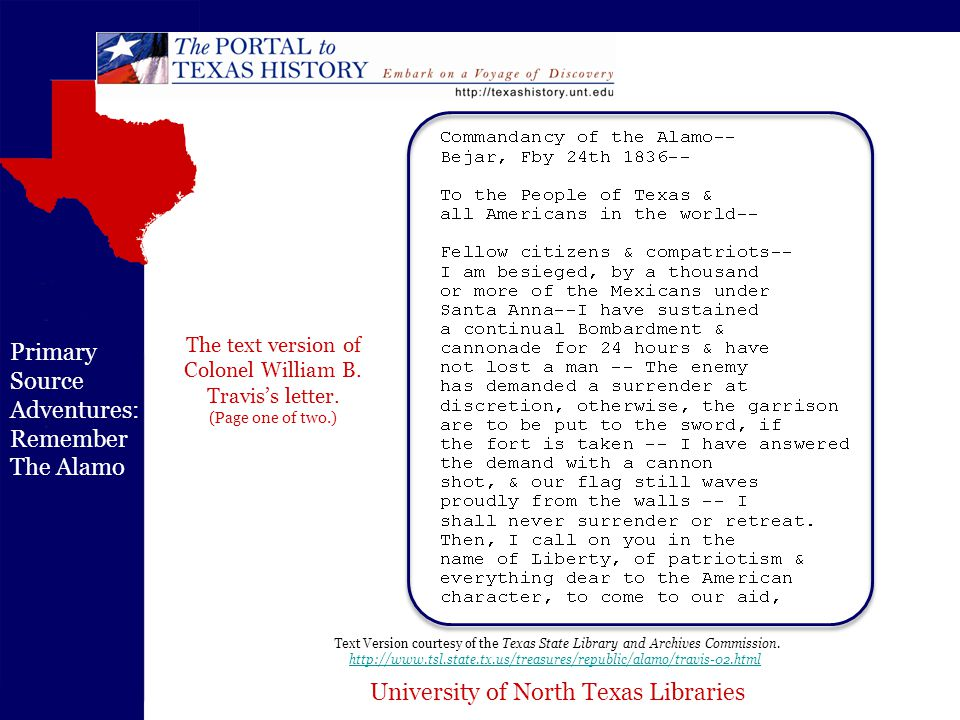 University of North Texas Libraries Primary Source Adventures: Remember The Alamo Travis letter page two, courtesy of the Texas State Library and Archives Commission.