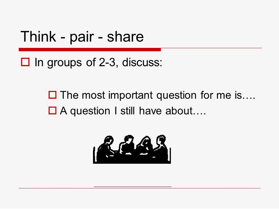 Think - pair - share  In groups of 2-3, discuss:  The most important question for me is….