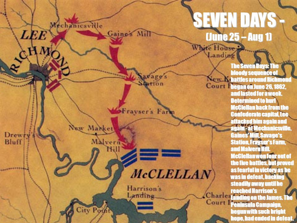 SEVEN DAYS - (June 25 – Aug 1) The Seven Days: The bloody sequence of battles around Richmond began on June 26, 1862, and lasted for a week.