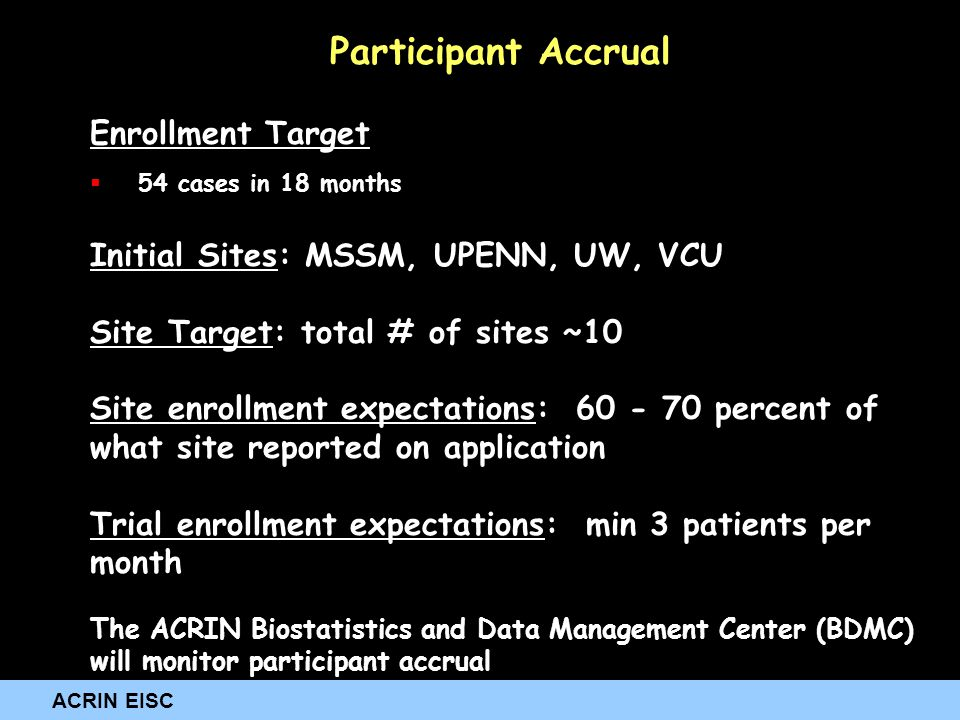 ACRIN EISC Participant Accrual Enrollment Target  54 cases in 18 months Initial Sites: MSSM, UPENN, UW, VCU Site Target: total # of sites ~10 Site en