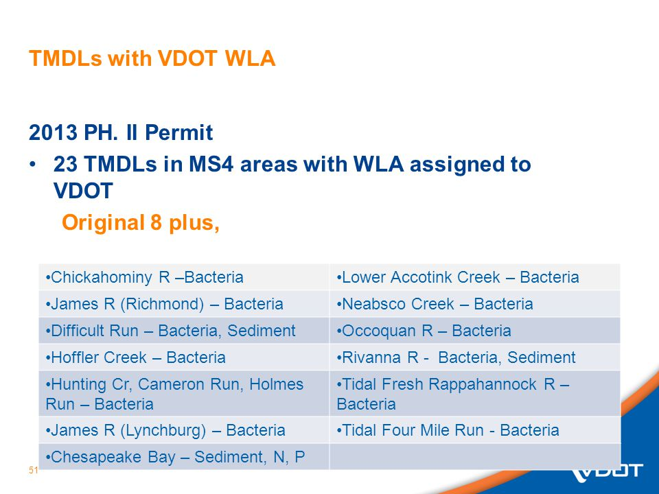51 TMDLs with VDOT WLA 2013 PH.