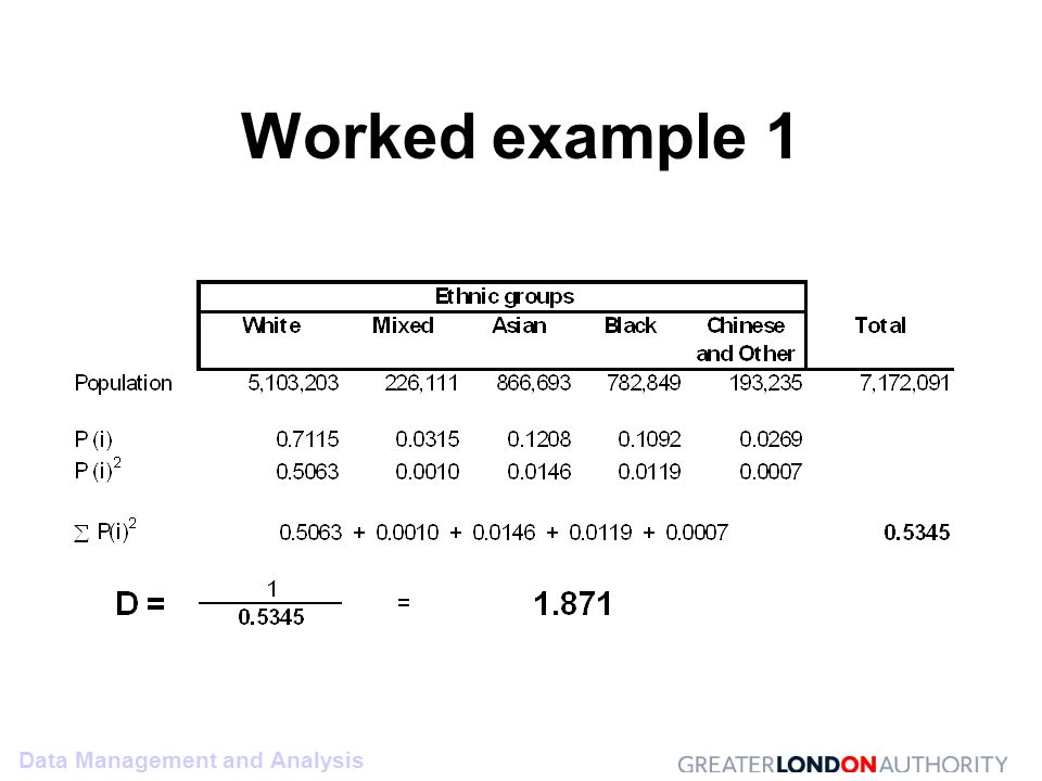 Data Management and Analysis Worked example 1