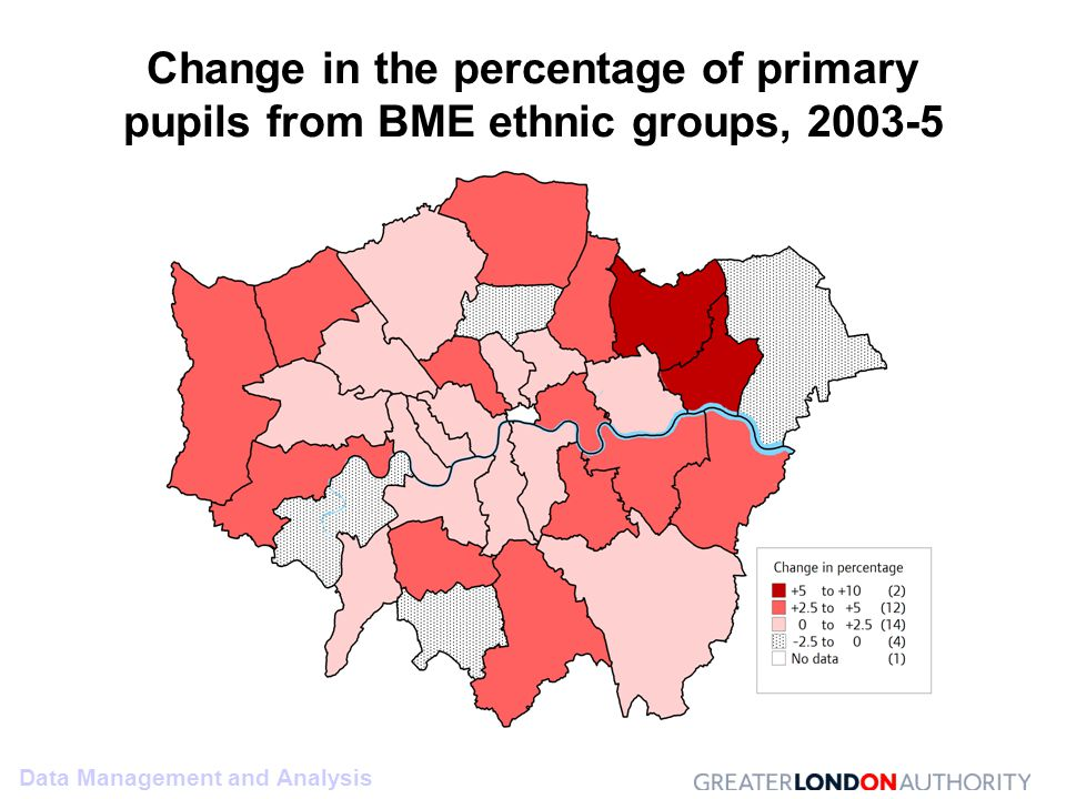 Data Management and Analysis Change in the percentage of primary pupils from BME ethnic groups, 2003-5