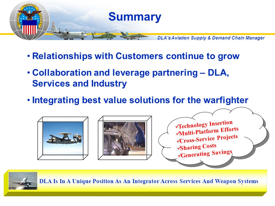 DLA s Aviation Supply & Demand Chain Manager Summary Relationships with Customers continue to grow Collaboration and leverage partnering – DLA, Services and Industry Integrating best value solutions for the warfighter DLA Is In A Unique Position As An Integrator Across Services And Weapon Systems Technology Insertion Multi-Platform Efforts Cross-Service Projects Sharing Costs Generating Savings Technology Insertion Multi-Platform Efforts Cross-Service Projects Sharing Costs Generating Savings
