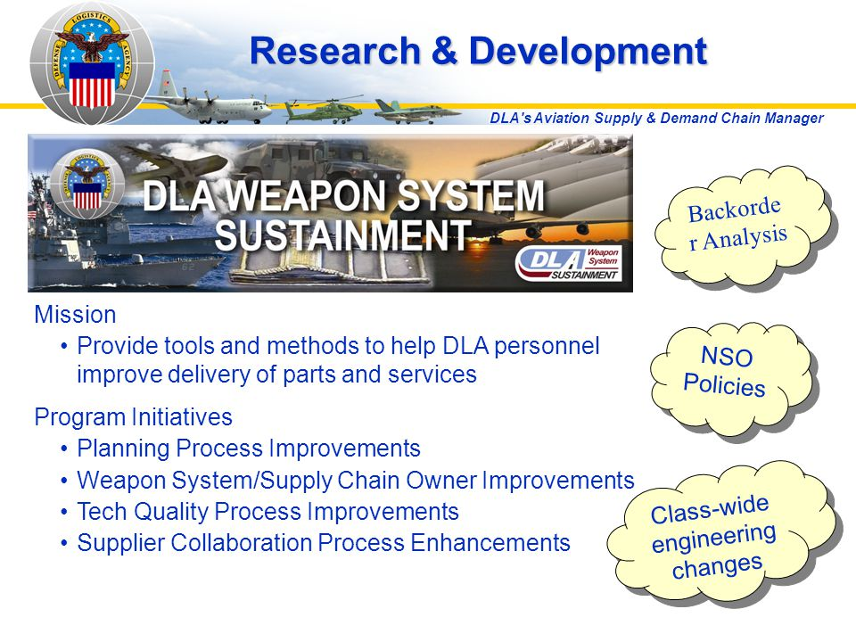 DLA s Aviation Supply & Demand Chain Manager Research & Development Mission Provide tools and methods to help DLA personnel improve delivery of parts and services Program Initiatives Planning Process Improvements Weapon System/Supply Chain Owner Improvements Tech Quality Process Improvements Supplier Collaboration Process Enhancements Backorde r Analysis NSO Policies Class-wide engineering changes