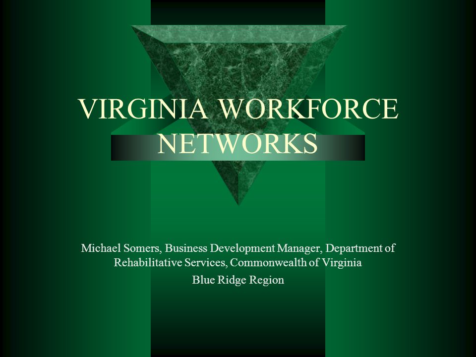 VIRGINIA WORKFORCE NETWORKS Michael Somers, Business Development Manager, Department of Rehabilitative Services, Commonwealth of Virginia Blue Ridge R