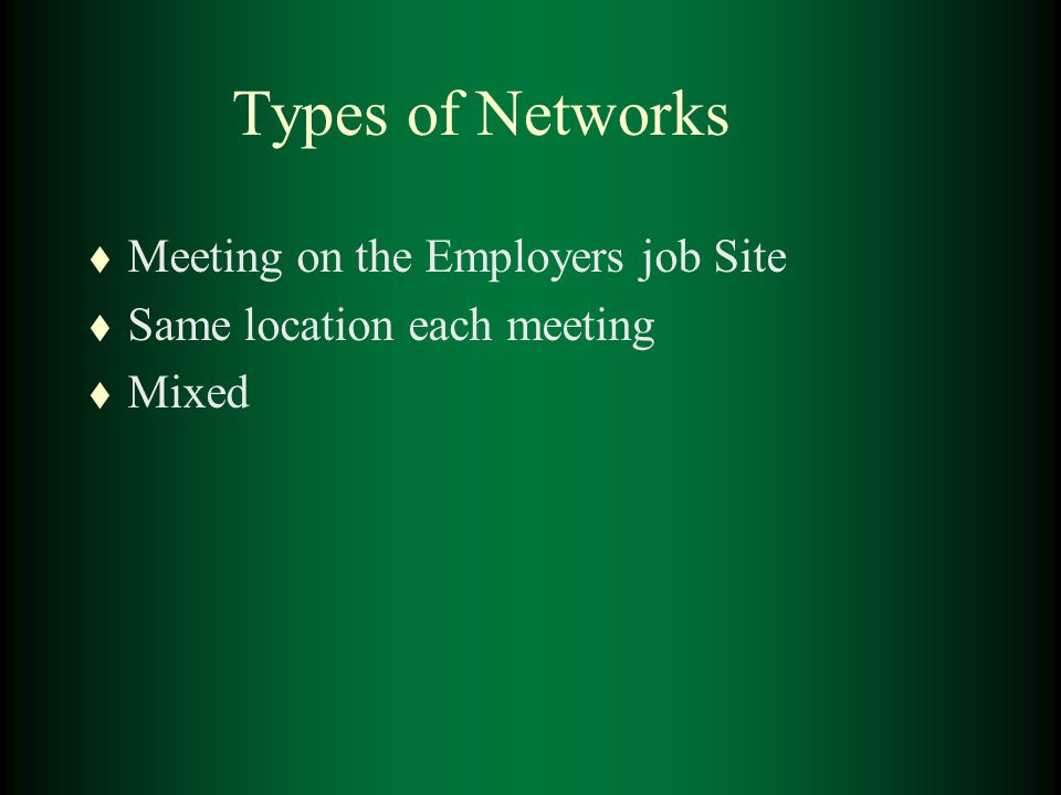 Types of Networks t Meeting on the Employers job Site t Same location each meeting t Mixed