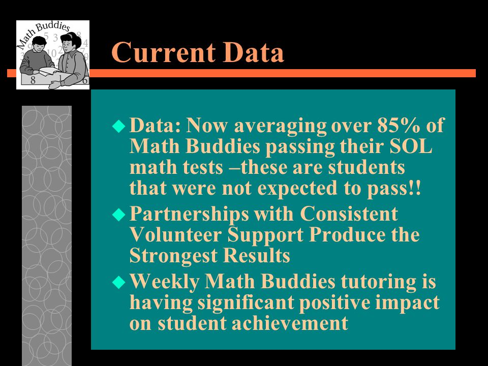 Current Data u Data: Now averaging over 85% of Math Buddies passing their SOL math tests –these are students that were not expected to pass!.